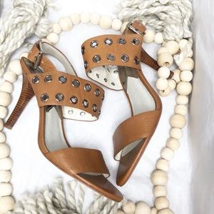 Michael Kors open toe tan heels size 9.5